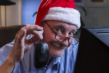 Man in Santa hat doing holiday shopping online, horizontal