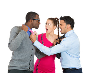 Two men fighting, compete for a young woman