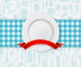 Fototapety Restaurant menu design with plate and ribbon