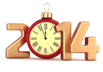 Happy New Year 2014 alarm clock Christmas ball decoration