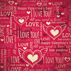 red background with  valentine heart and wishes text,  vector