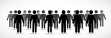 Illustration of crowd of people - icon silhouettes vector