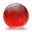 3D red glass sphere