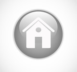 Round gray web home page button with house icon vector