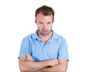 Portrait of angry, annoyed, grumpy, mad man, white background