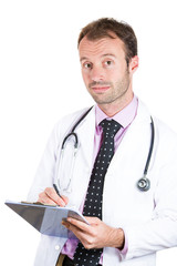 Confident male doctor taking patient's notes