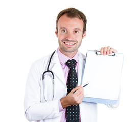 Smiling male doctor holding clipboard with blank document