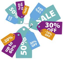 Colorful sale tags design set