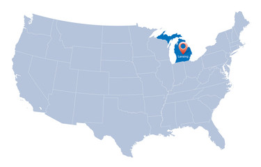 USA map with the indication of Sate of Michigan