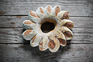 Bread wreath for holidays, rustic artisan style