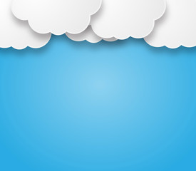 Empty clouds on a blue background