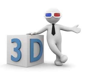 omino bianco con simbolo 3D
