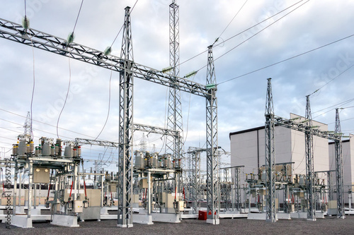 High voltage electric power substation in autumn day