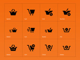 Checkout icons on orange background.