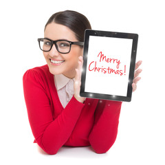 Businesswoman with tablet computer wishing Merry Christmas