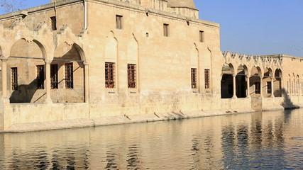 fish lake and Halil-ur Rahman Mosque, wide angle pan shoot,