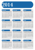German Calendar 2014 blue and white, vectorial image
