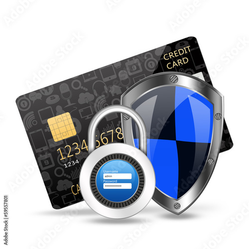 protection concept with padlock on creditcard