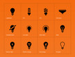 Light bulb lamp icons on orange background.