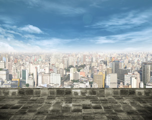 Cityscape with blue sky and outside background