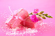 Natural handmade soap, on pink background