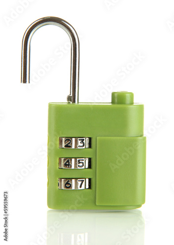 Green padlock isolated on white