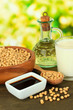 Soy products on table on bright background