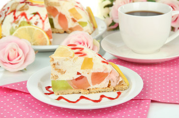 Delicious jelly cake on table close-up