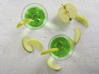 Green Apple Martini Cocktail in Overhead View
