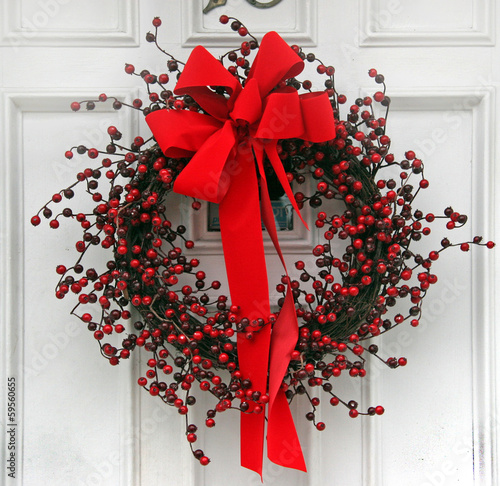 Christmas wreath made of red berries