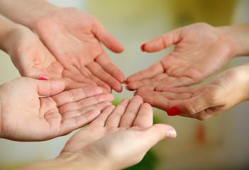 Muslim praying hands on light background