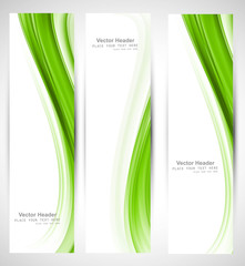 Abstract vertical header green wave vector