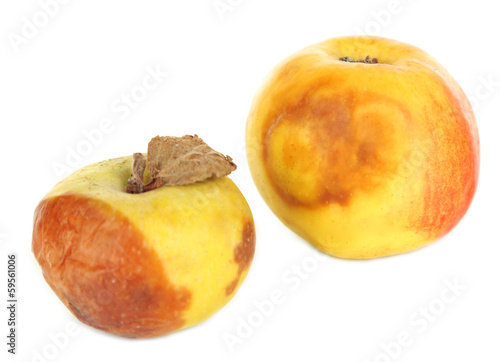 Rotten apples isolated on white