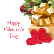 golden gift box, two red hearts and flowers, isolated
