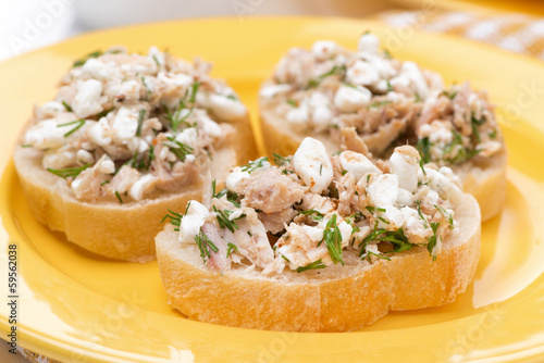 Toasts with tuna and homemade cheese