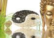composition zen, bouddha, bambou et yin yang