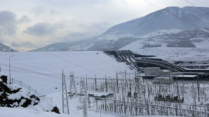 hydroelectric power plant in winter, pan shoot