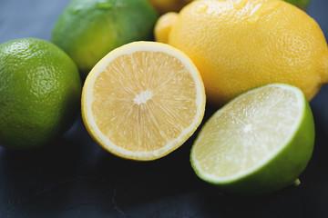 Citrus fruits: lemons and limes, horizontal shot