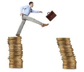 Businessman jump for risk