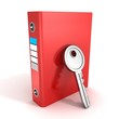 paper documents red ring binder folder with security key