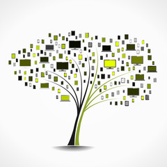 Electronics tree abstract vector illustration background