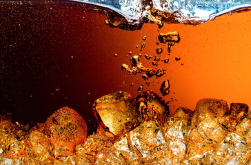 Cola with Ice. Splash