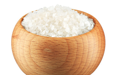 Sea Salt in a bowl on white background