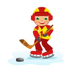 Boy hockey player