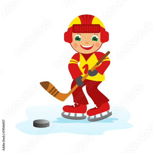 Boy hockey player