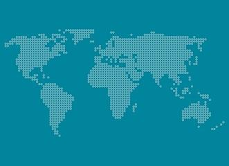 Weltkarte aus weißen Kriesen auf blauem Hintergrund