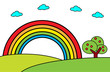 Landscape with rainbow and tree -Vector cartoon illustration