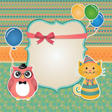 Vector Hipster Animals birthday party invitation card design.