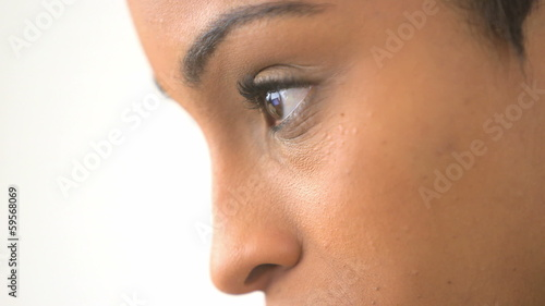 Close up of African American business woman working