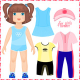Paper doll with a set of sport clothes.
